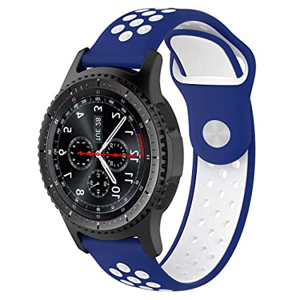 Willibill Gear S3 Bands Soft Silicone Replacement for Band Samsung Gear S3 Frontier/Classic Smart Watch/Huawei Watch 2 Classic Smartwatch (Blue-White, ...