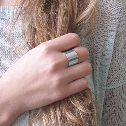Wide Silver Plated Adjustable Women band ring (Wide Silver Band)