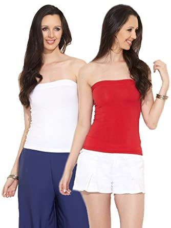 323ab57f36 Espresso Women s Strapless Bandeau Tube Tops - A Pack of 2 - Red White   Amazon.in  Clothing   Accessories