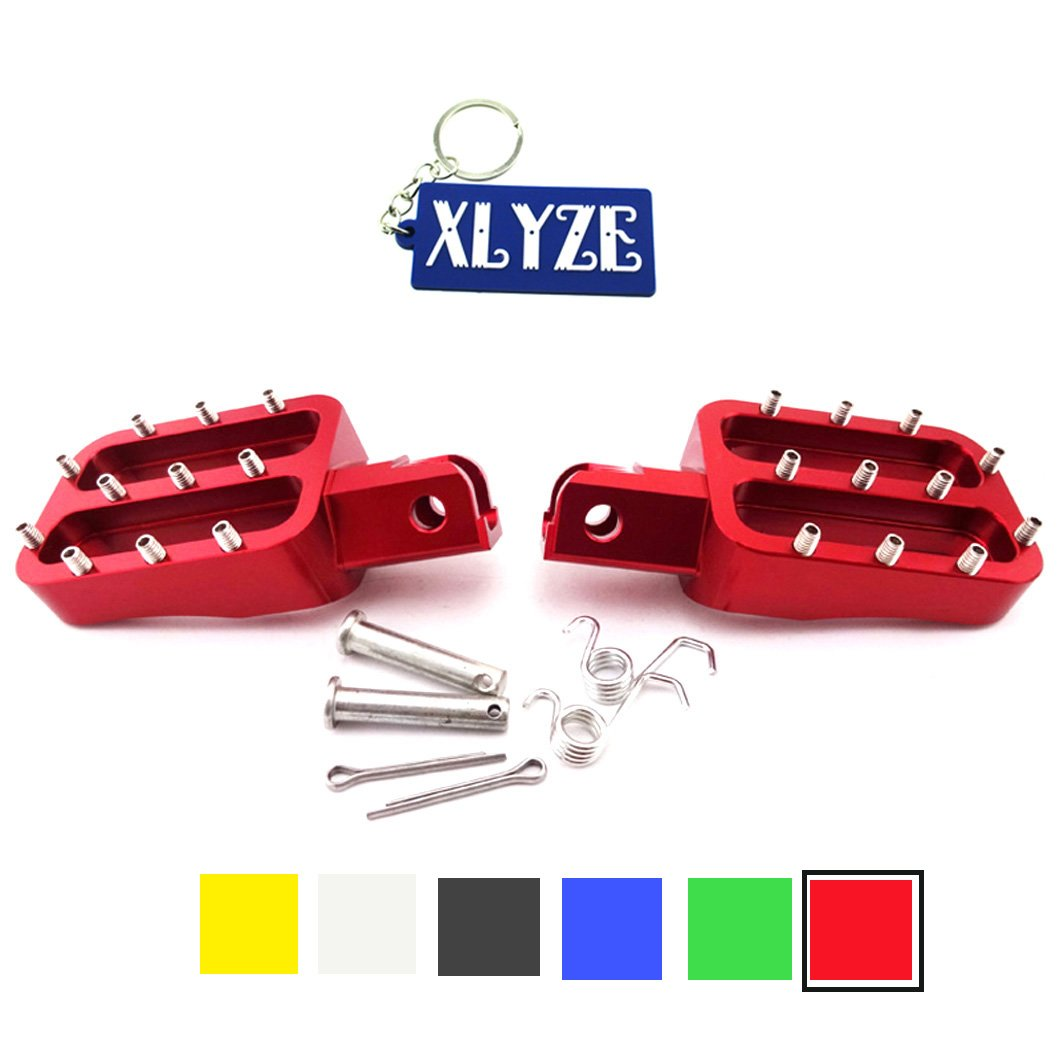 XLYZE Red CNC Aluminum Footpegs Foot Rest Pegs for Chinese XR50 CRF50 CRF70 KLX110 TTR YCF Piranha IMR Pitsterpro Pit Dirt Trail Bike