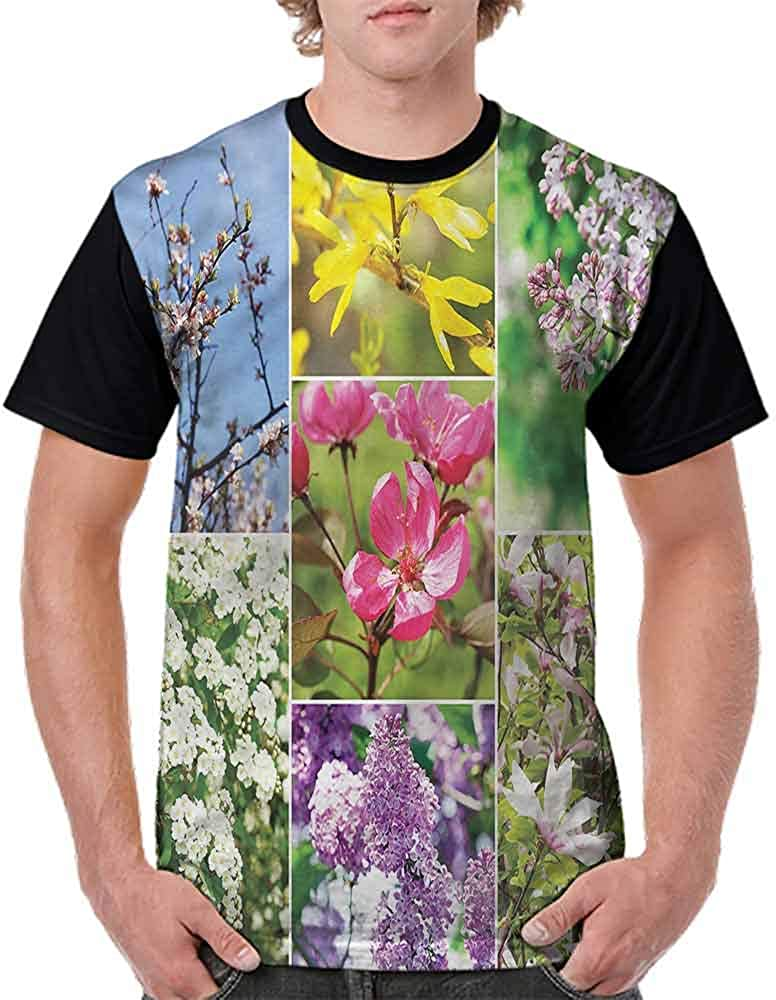 Casual Short Sleeve Graphic Tee Shirts,Lavender Blossoming Nature Fashion Personality Customization