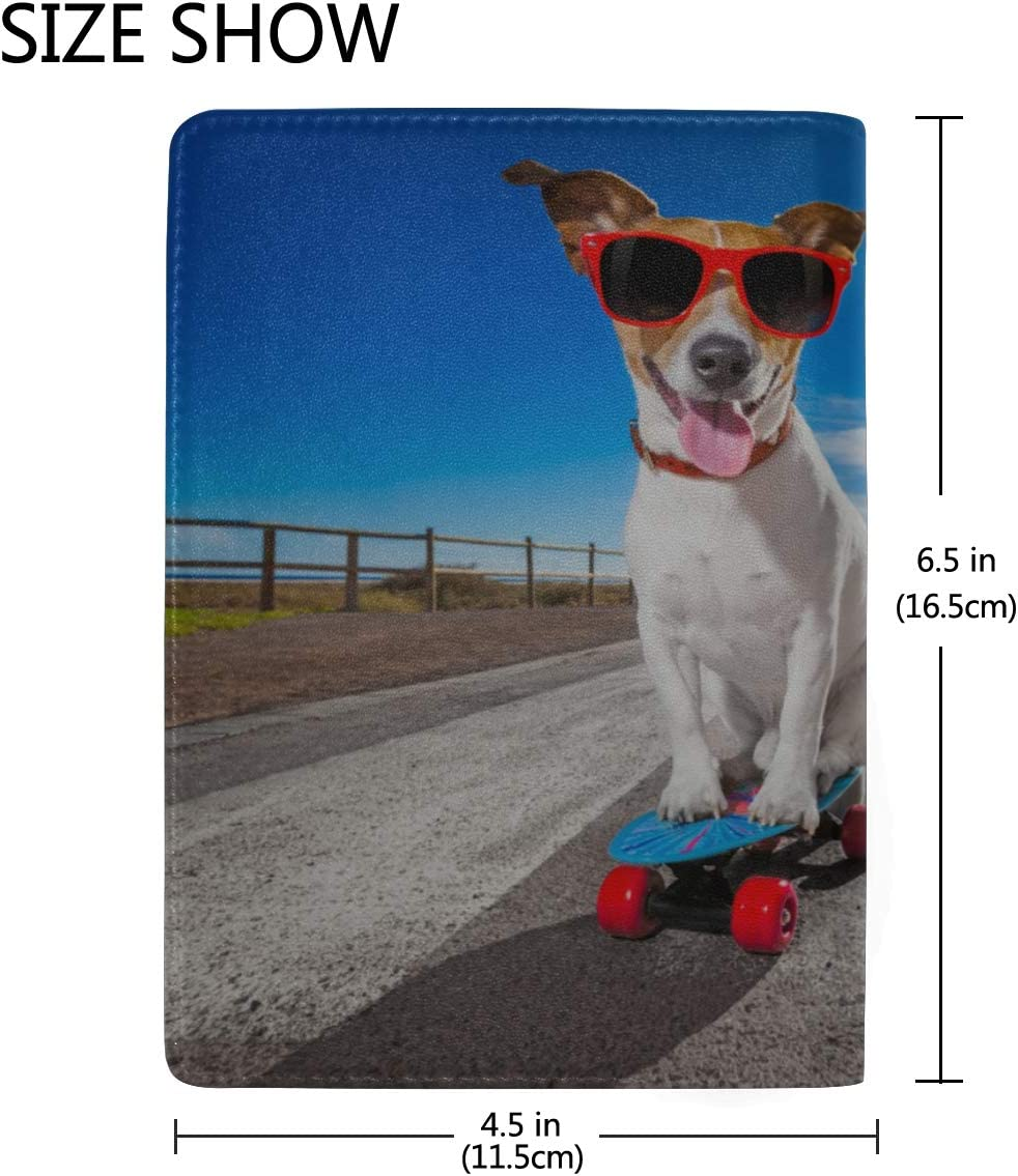 Funny Dog Standing On A Skateboard Blocking Print Passport Holder Cover Case Travel Luggage Passport Wallet Card Holder Made With Leather For Men Women Kids Family