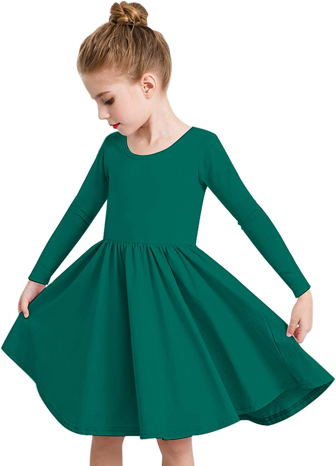 STELLE Toddler//Girls Long Sleeve Casual A-Line Twirly Skater Dress for School Party
