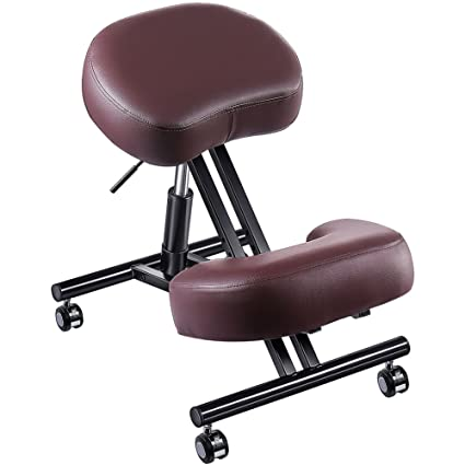 Adjustable Kneeling Chair, Superjare Ergonomic Working Stool W/ 4u201d Cushion  For Office Or
