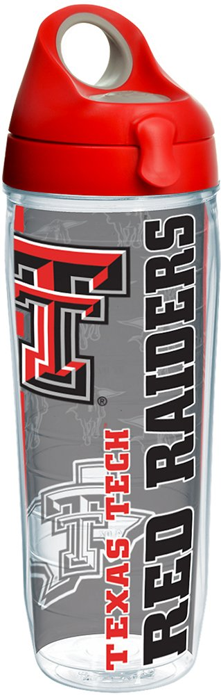 Tervis 1221304 Texas Tech Red Raiders College Pride Tumbler with Wrap and Red with Gray Lid 24oz Water Bottle, Clear