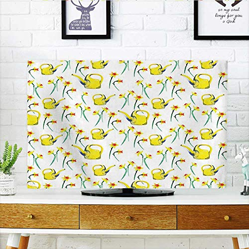 Auraisehome Protect Your TV Daffodils and Watering Cans Pattern Watercolor Style Decorative Print Gardening Theme Yellow White Protect Your TV W36 x H60 INCH/TV 65