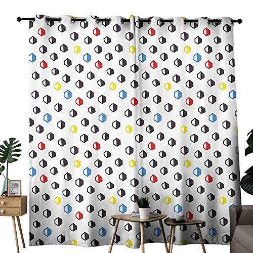- duommhome Abstract Bedroom Curtain Geometric Hexagonal Forms in Hand Drawn Cute Kids Nursery Print Block Light Protection Privacy W96 xL72 Multicolor