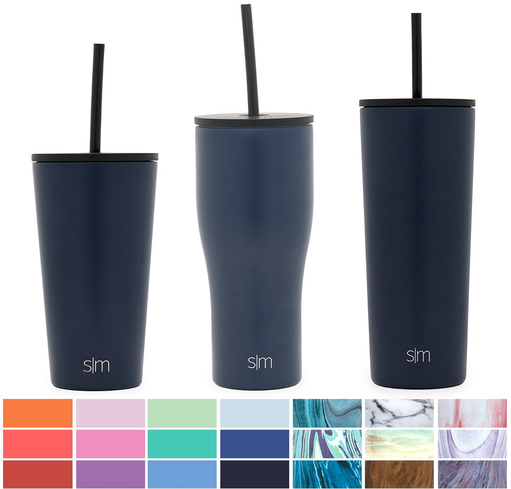 Simple Modern 24oz Classic Tumbler Mug with Straw Lid and Flip Lid - Vacuum Insulated Travel Mug Flask 18/8 Stainless Steel Hydro Thermos Cup - Deep Ocean