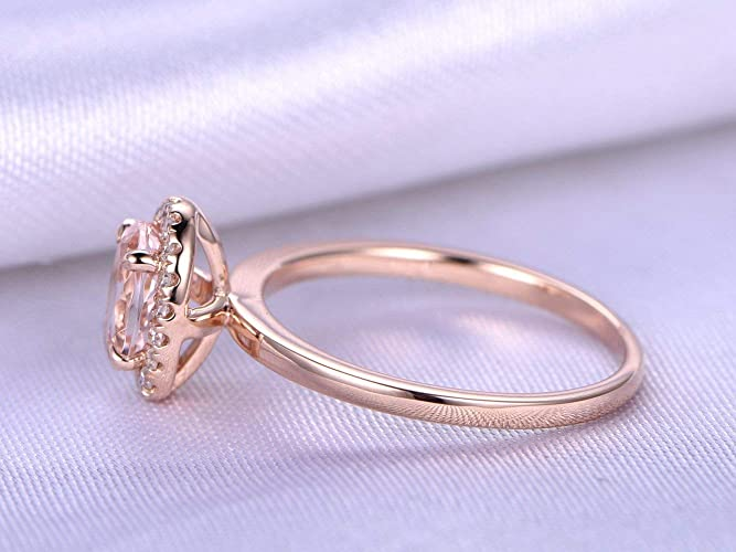 Solid 14k Rose Gold 5x7mm Oval Cut Natural Pink Morganite Stone Diamonds Halo Engagement Ring Plain Band Wedding Anniversary Bridal Vintage Propose Diamond Rings Size 4-9 for Her