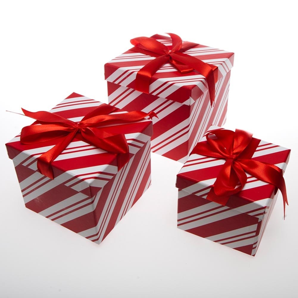 Amazon.com: Forever Beautiful Christmas Nesting Gift Boxes Red ...