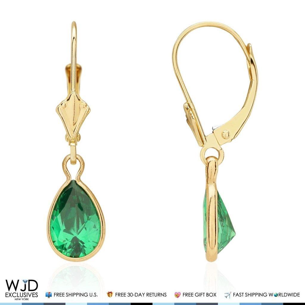 14k Yellow Gold Teardrop Bezel Birthstone Dangle Leverback Earrings 1'', Amethyst by WJD Exclusives (Image #4)