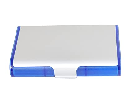 Business card caddy 4x3 translucent blue with aluminum cover business card caddy 4quotx3quot translucent blue with colourmoves