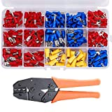 HIFROM 280Pcs Crimp Electrical Connectors Insulated Spade Set with Professional Insulated Wire Terminals Connectors Ratcheting Crimper Tool for 22-10AWG,Mixed Assorted Lug Kit