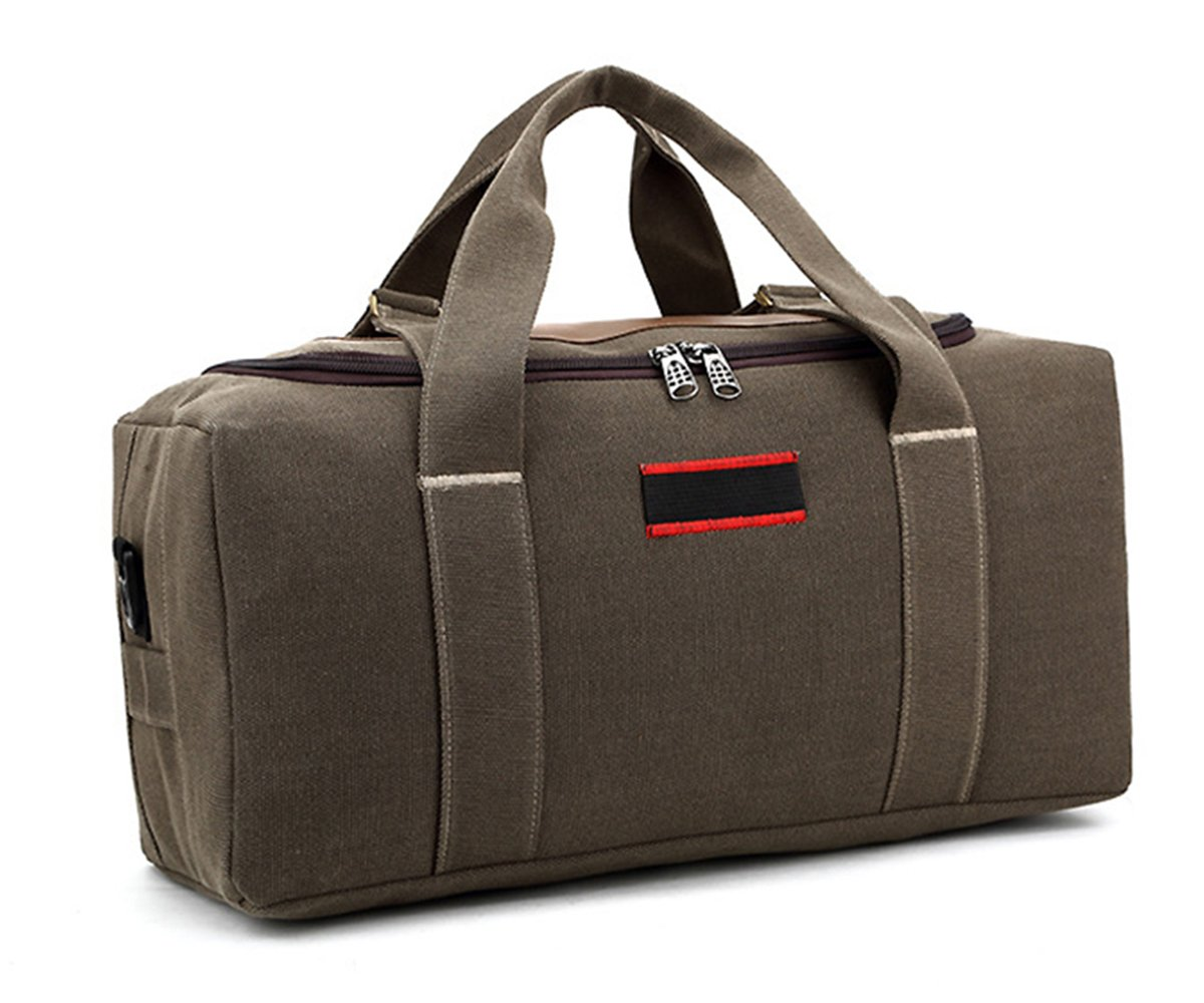 22'' Travel Luggage Large Duffel Weekender Bags Casual Canvas Sports Overnight Bag Cross Body with Strap Holdall Brown