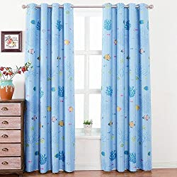 WPKIRA Grommet Semi Blackout Curtains Kids Room Thermal Insulated Window Treatment The Underwater World Printed Shade Window Panel Drapes For Boys Girls Bedroom (1 Panel), Blue W39 x L63 inch