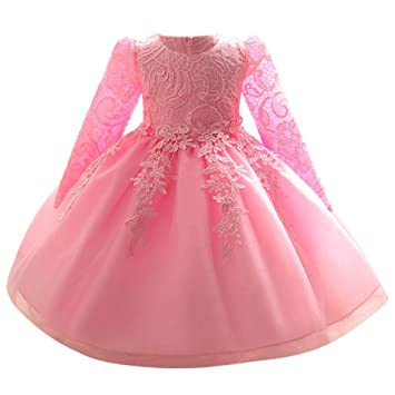 af109dbf12a6 Kids Toddler Baby Girl Dress Long Sleeves Lace Bowknot Party Princess Wedding  Dress Pageant Bridesmaid Dresses