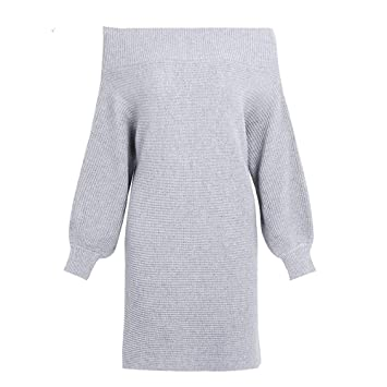 f19a76ce6ee SHUCHANGLE Robe Pull Épaule Décontractée Pullover Dress Femmes Veste Hiver Longue  Pull Dress Femme Batwing Pull