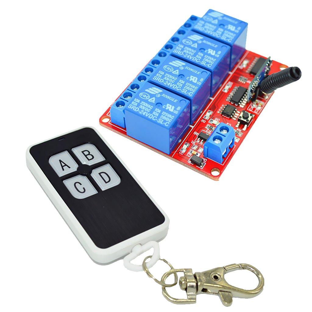 MagiDeal 24V Module Relais 4 Canaux Commutateur sans Fil Commande /à Distance 433MHZ pour Contr/ôle /Éclairage//TV Moteur//Portes Electriques//Fen/êtres #1