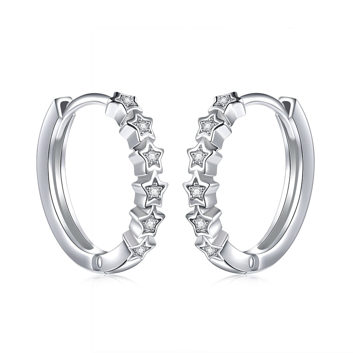925 Sterling Silver Pave Cz Star Small Hoop Earrings for Women (Style 3)