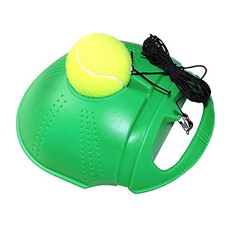 runacc tenis Trainer Set plinthes de función de Auto Aprendizaje con base de entrenamiento de tenis y bola de rebote, verde