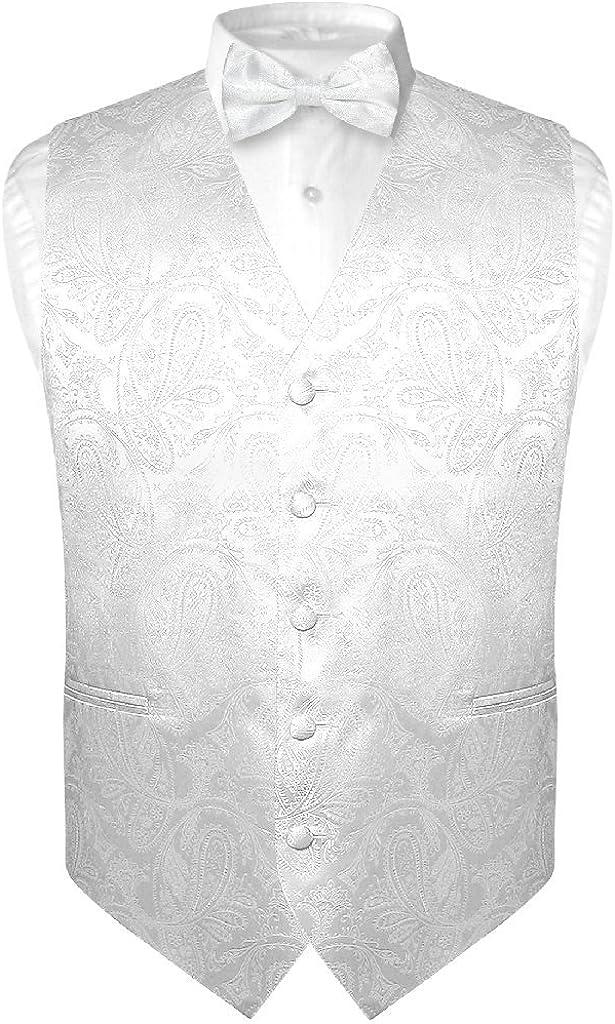 Men's Paisley Design Dress Vest & Bow Tie White Color Bowtie Set for Suit Tuxedo