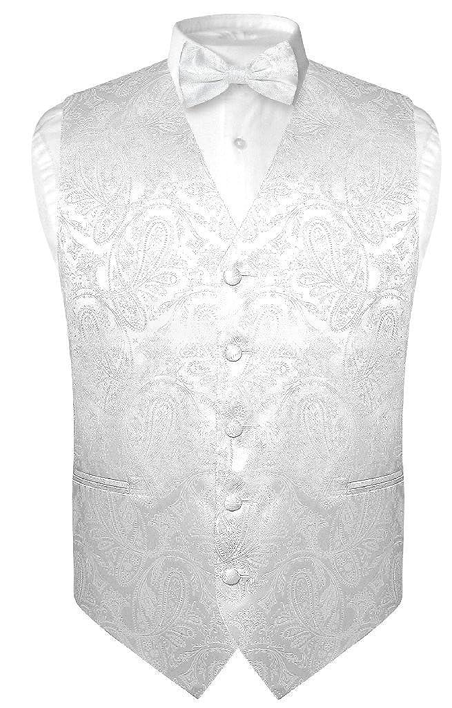 Mens Paisley Design Dress Vest /& Bow Tie White Color Bowtie Set for Suit Tuxedo