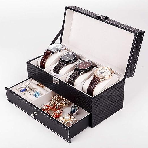 QXTT Caja Estuche De PU para Relojes Organizador Joyero De Joyas para Guardar Relojes con 6 Compartimentos para Pendientes Collares Pulseras: Amazon.es: Hogar