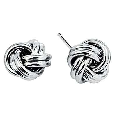 4b7a12bed7940 925 Sterling Silver Love Knot Stud Earrings Rhodium Plated Made in Italy