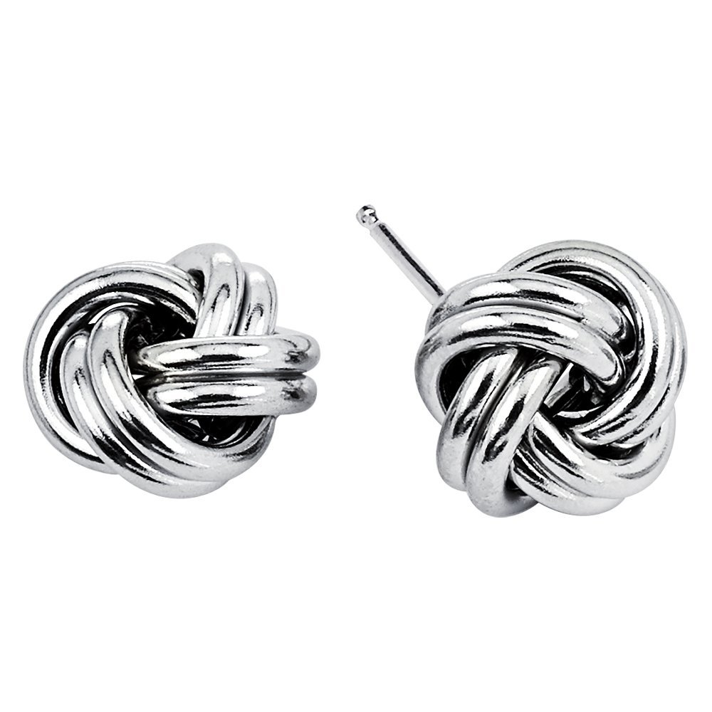 D Jewelry 925 Sterling Silver Love Knot Stud Earrings Rhodium Plated Made in Italy (10mm)