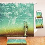 LiczHome Bath Suit: Showercurtain Bathrug Bathtowel Handtowel Music Decor Tapestry Old Aged Worn Single Trumpet Stands Alone Against a Faded Wall Jazz Music Theme Photo Sea Green and Brown