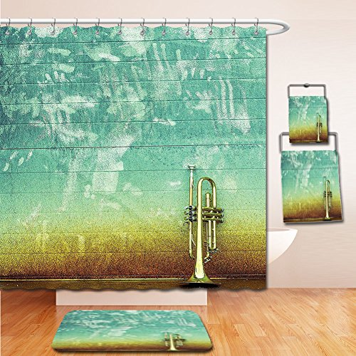 7 Kelston Toilet (LiczHome Bath Suit: Showercurtain Bathrug Bathtowel Handtowel Music Decor Tapestry Old Aged Worn Single Trumpet Stands Alone Against a Faded Wall Jazz Music Theme Photo Sea Green and Brown)
