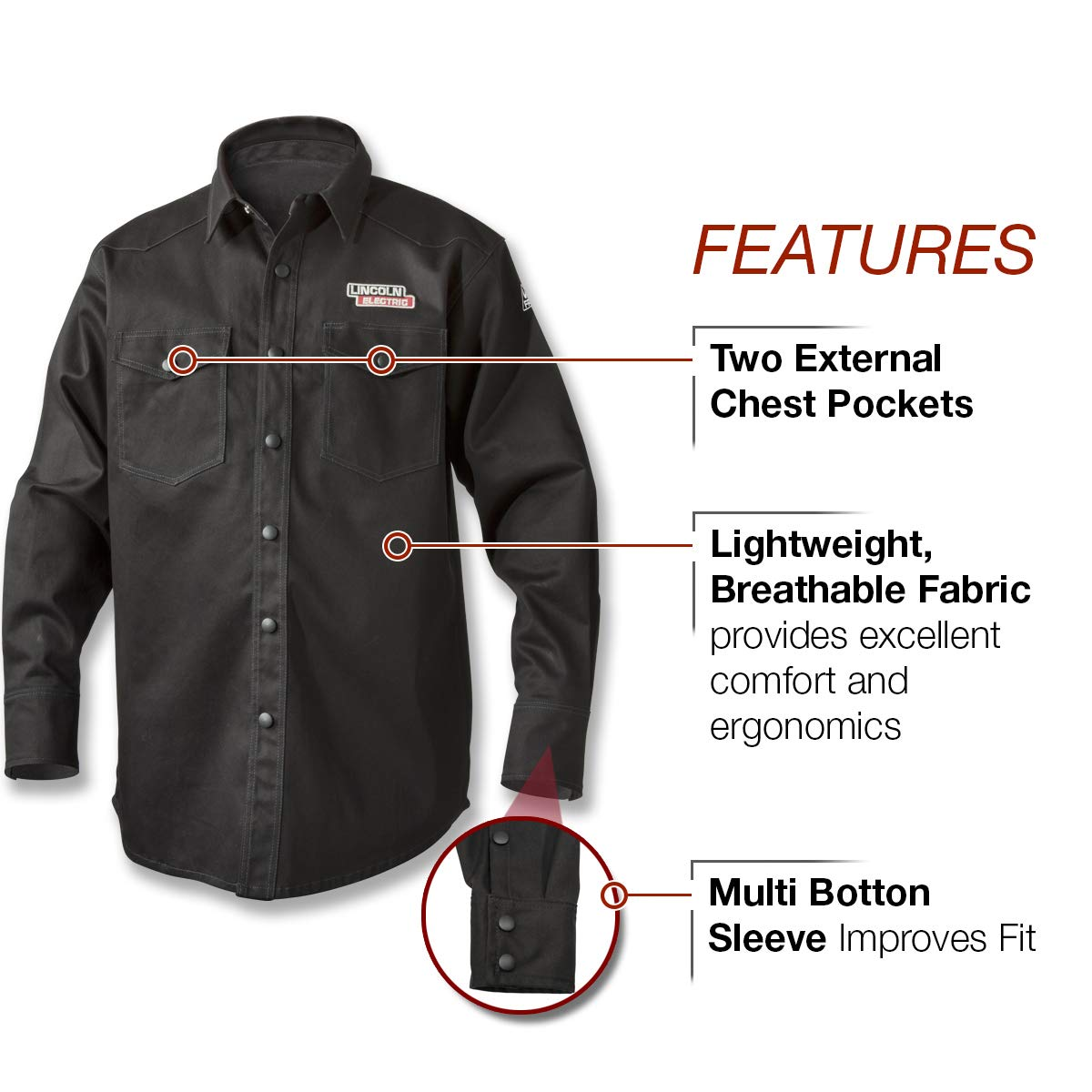 Lincoln Electric Welding Shirt | Premium Flame Resistant (FR) Cotton  | Custom Fit | Black | Large | K3113-L by Lincoln Electric (Image #3)