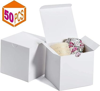 Switory Cajas de regalo 50Pc 10x10x10cm, cajas de regalo de papel Kraft con tapas para hacer manualidades, cajas de ...