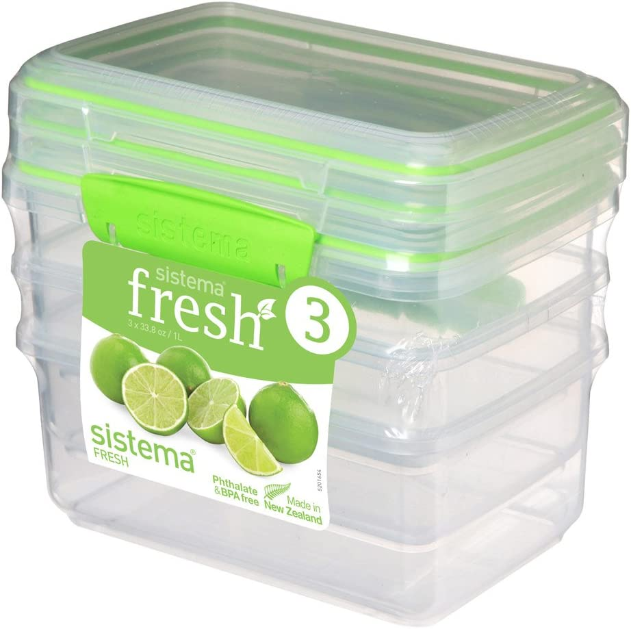 Sistema Fresh Collection 4.2 Cup Food Storage Containers (3 Pack), 33.8 oz, Clear/Lime Green