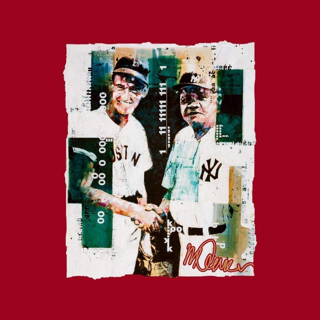 VINTRO Ted Williams and Babe Ruth Veste pour homme Portrait original par Sidney Maurer Imprimé professionnel Noir de Jais, Blanc Arctique.
