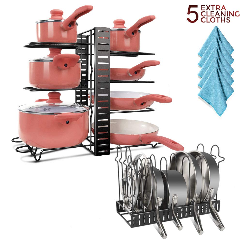 Rastrellieraper Ideale per La Disposizione da Cucina Masthome Supporto per Pentole e Padelle con 8 Ripiani Porta Coperchi Salvaspazio con 5 Panni per La Pulizia della Cucina
