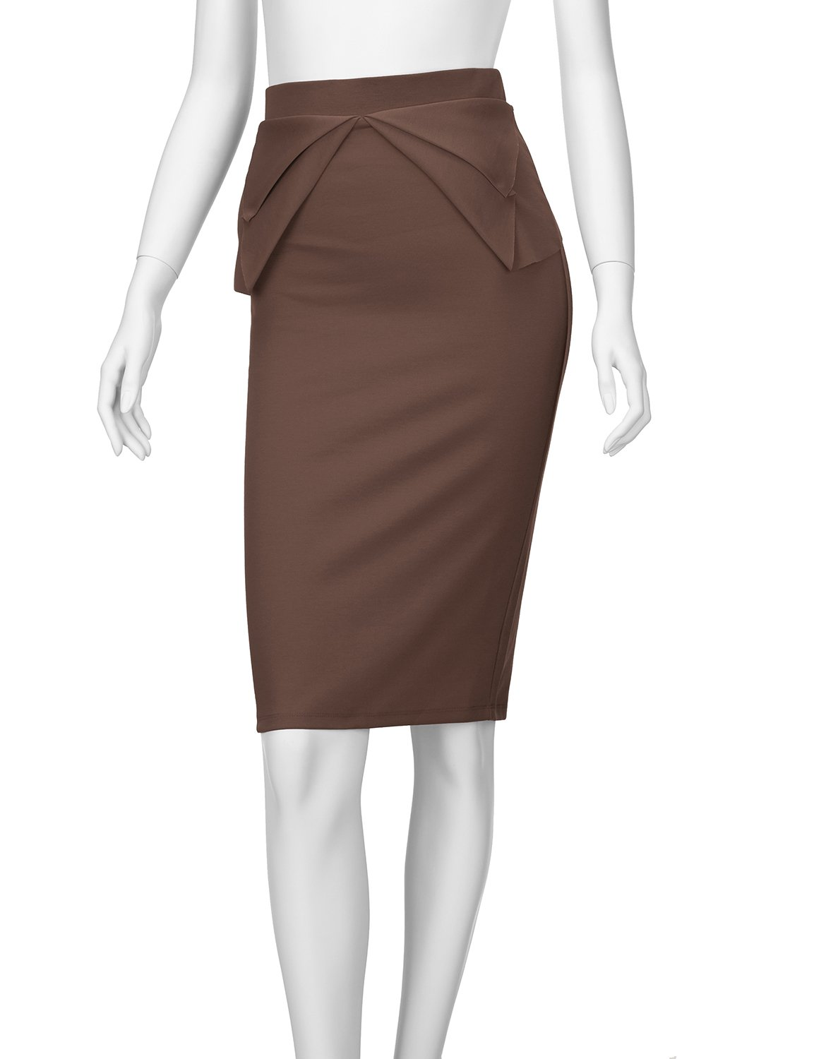 Regna X Womens high Waist Elastic Band Sexy Knee Length Skirts Brown XL by Regna X (Image #5)