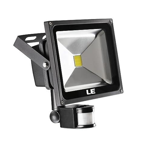 LE Foco LED con Sensor 30W=75W SAP 2100lm, Blanco Frío, Resistente al