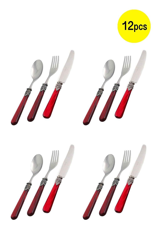 EME Napoleon Stainless Cutlery Dessert Set Silverware Flatware Set 3pcs Fork Spoon Knife (Red, 12)