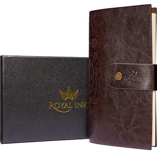Refillable Writing Journal 2018 - Vintage Travelers Notebook, Perfect as a Daily Journal for Women and Men - Handmade with Blank Pages and Embossed - Jour Mens