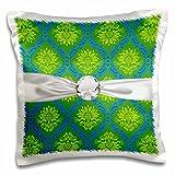 Dooni Designs Damask Patterns - Lime Olive Green Blue Ornate Damask Pattern Faux Diamond Ribbon - 16x16 inch Pillow Case (pc_118982_1)