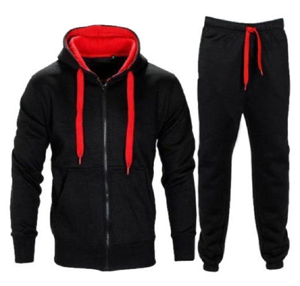 New Kids Boys Contrast Drawcord Fleece Hooded Top Bottom Set Jogging Tracksuit Black/Red