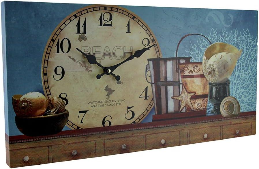 Zeckos Beach Themed Decorative Wood Wall Clock Blue