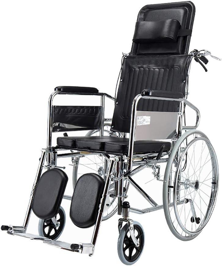 WEHQ Autopropulsada Silla de Ruedas reclinable con Respaldo abatible con Silla de Ruedas Completo de reclinación de Peso Ligero portátil con Manual extraíble Bedpan discapacitados Vespa móviles