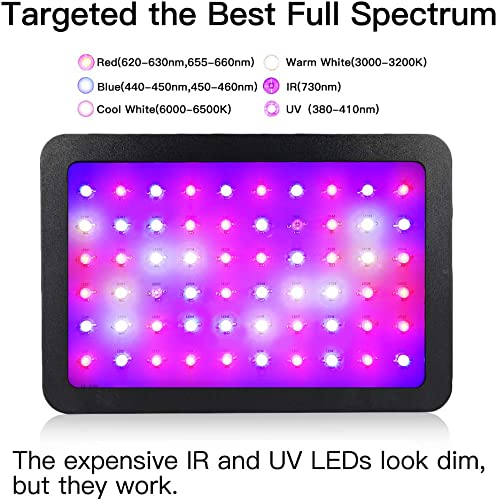 600W LED Grow Light, WAKYME Full Spectrum Plant Light with Veg and Bloom Double Switch, Thermometer Humidity Monitor, Adjustable Rope, Grow Lamp for Indoor Plants Veg and Flower 60pcs 10W LED