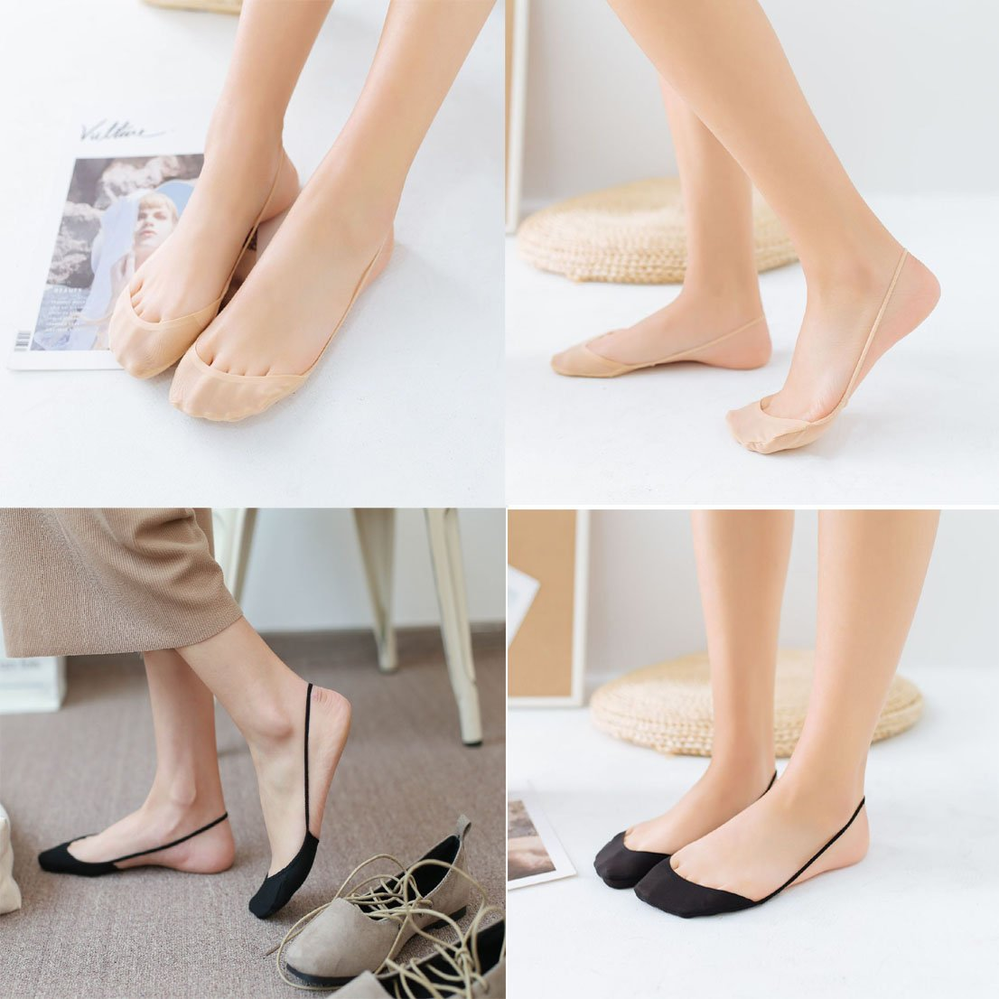 6 Pack No Show Socks Women No Show Liner Socks Thin Low Cut Casual Socks Boat Socks with Gel Tab for Flats and High Heels