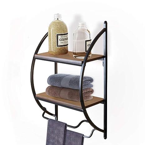 Bathroom Shelf With Towel Rods 2 Tier Wood Wall Mounted Storage Shelves Organizer Toilet Storage Holder Double Metal Towel Rack