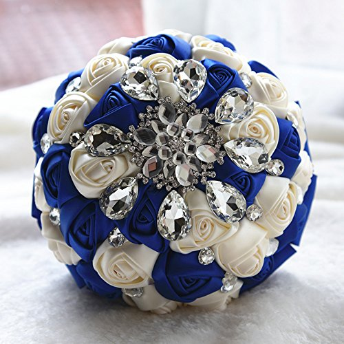 Moleya 7 Inch Customization Romantic Royal Blue Wedding Bride Holding Bouquet with Satin Roses and (Tropical Bridal Bouquets)