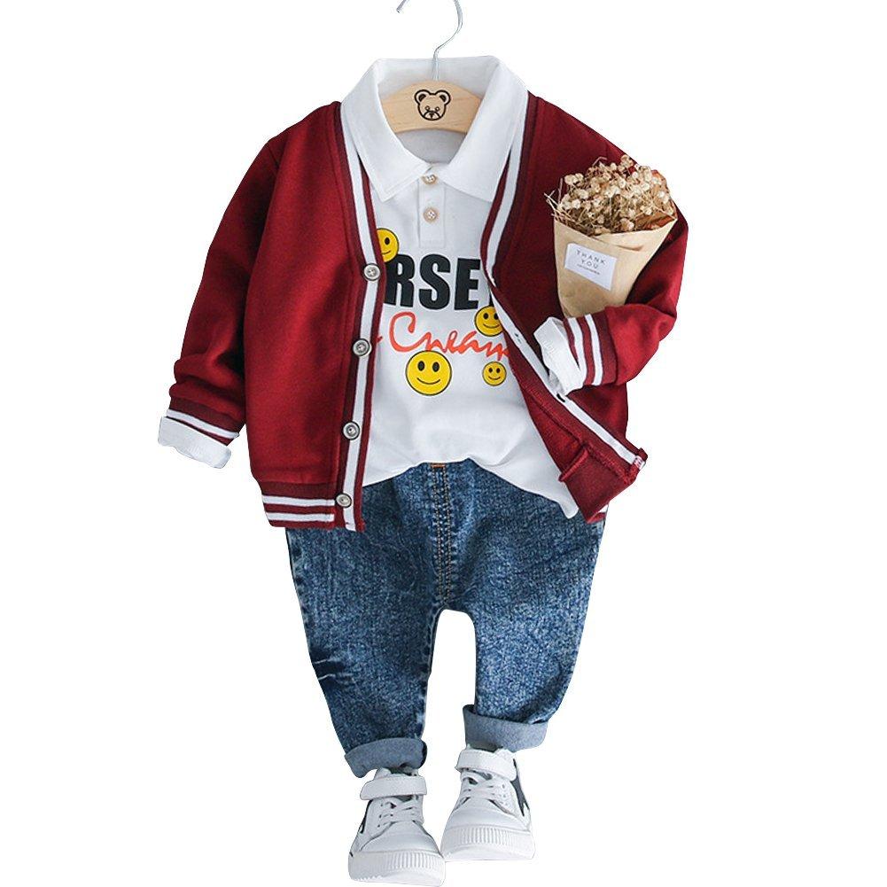 HLWLWOLFOYC Baby Junge Mädchen 3 Stück Kleidung Set Strickjack + Langarm Shirt + Lange Hose