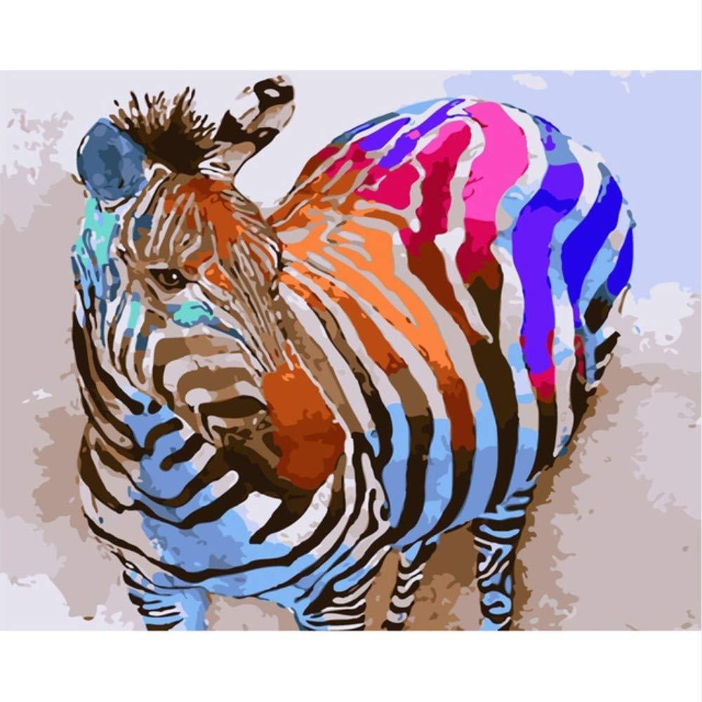 Zxfcczxf Colorido Cebra Pintura Al Óleo By Números Diy Diy Diy Animal Abstracto Colorear Imagen Digital Por Números Sobre Lienzo Regalo Único Decoración Para El Hogar 6194cc